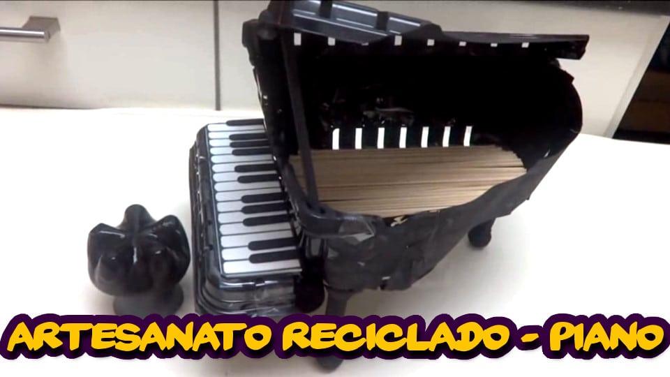 Artesanato Com Reciclagem - Crie Belo Piano Reciclado Com Garrafa Pet e Bandeja Plástica de Bolo
