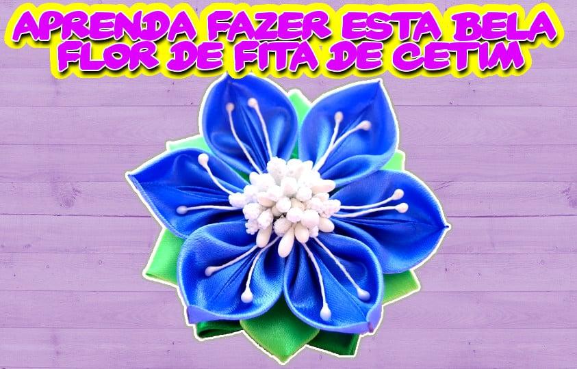 Bela Flor De Fita De Cetim Azul-Aprenda Como Fazer Com Esta Vídeo-Aula DIY Todo Passo-a-Passo PAP