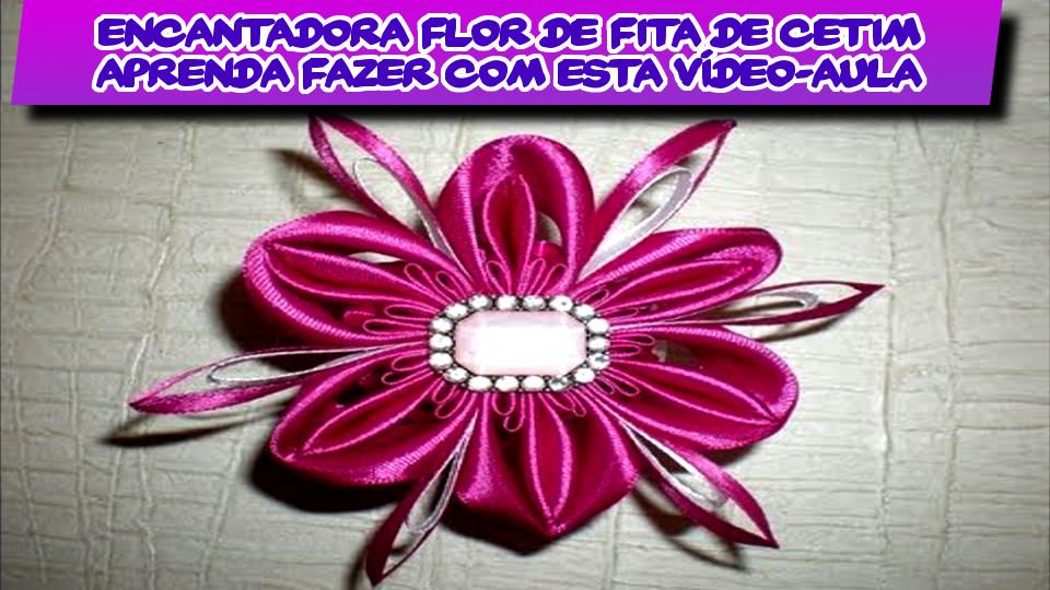 Encantadora Flor De Fita De Cetim Rosa - Aprenda Fazer Com Esta Vídeo-Aula DIY Passo-a-Passo PAP