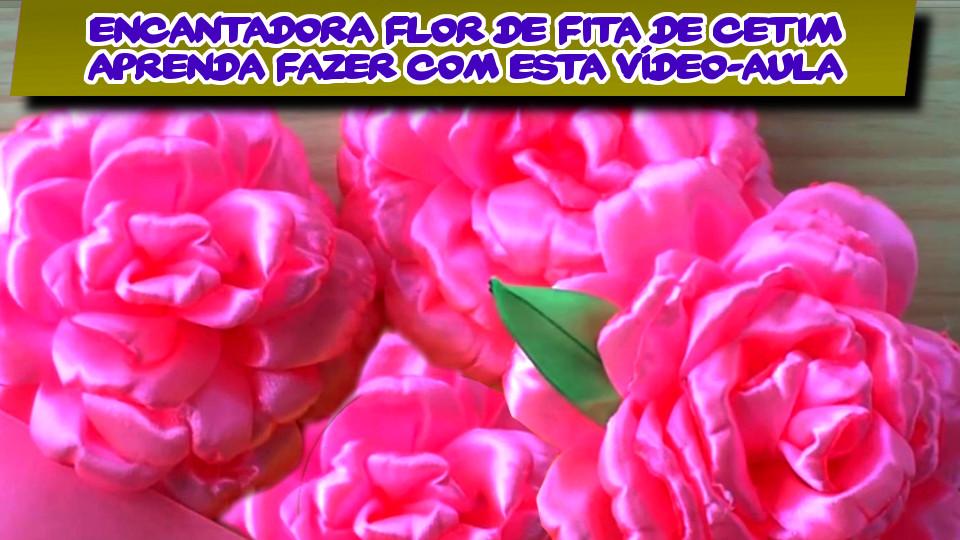 Vídeo Passo-a-Passo - Veja Como Fazer Esta Adorável Flor De Fita De Cetim Rosa - DIY PAP Vídeo-Aula