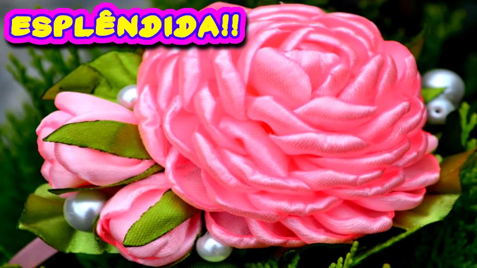 Esplendida Flor de Fita de Cetim - Aprenda a Fazer Acompanhando Este Passo a Passo DIY