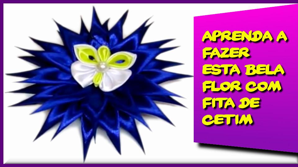 Aprenda a Fazer esta Bela Flor com Fitas de Cetim #02