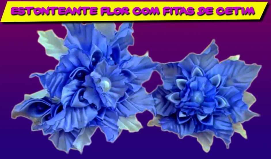 Aprenda a Fazer esta Estonteante Flor com Fitas de Cetim Azul