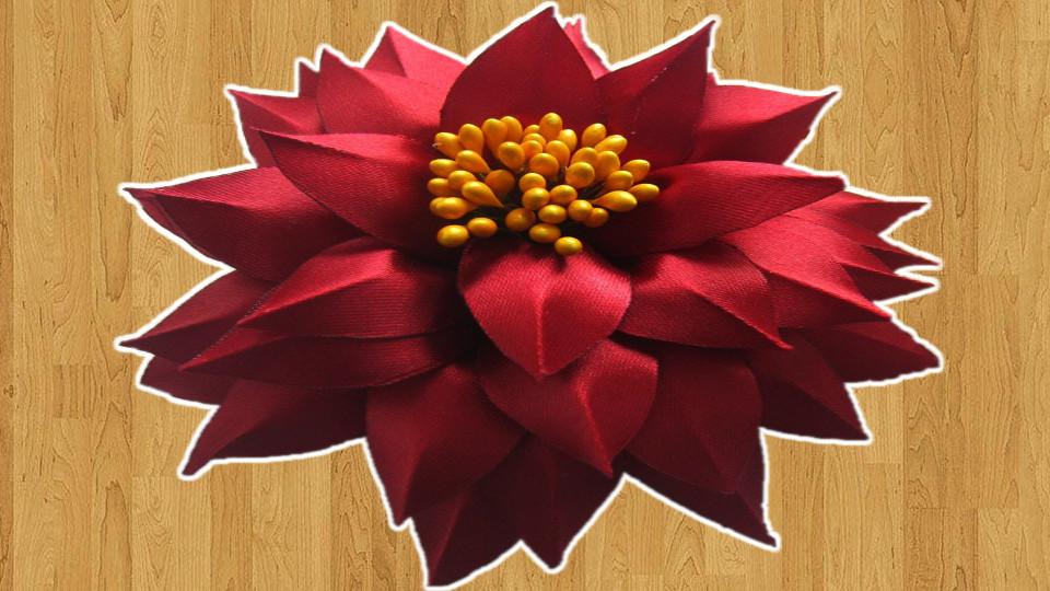 Flor com Fita de Cetim Linda - Veja como fazer