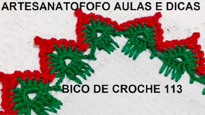BICO DE CROCHÊ NATALINO #DESTRO - CROCHÊ 113 | PONTO DE CROCHÊ PASSO A PASSO [VÍDEO AULA]
