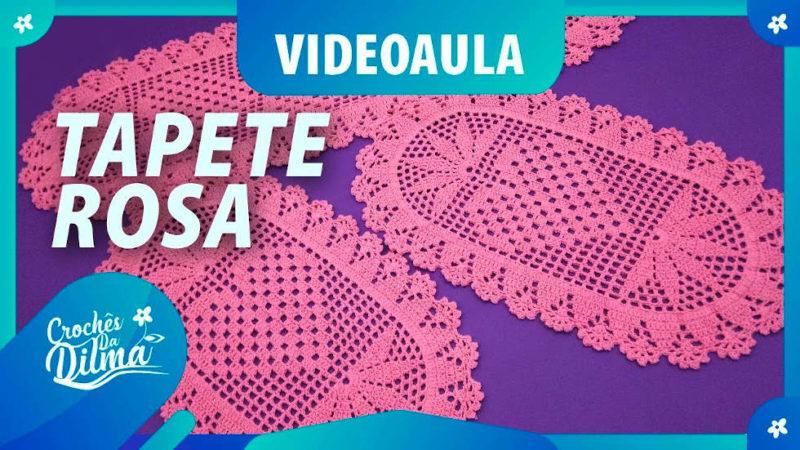 TAPETE DE CROCHÊ ROSA (CONJUNTO DE COZINHA) | PONTO DE CROCHÊ PASSO A PASSO [VÍDEO AULA]