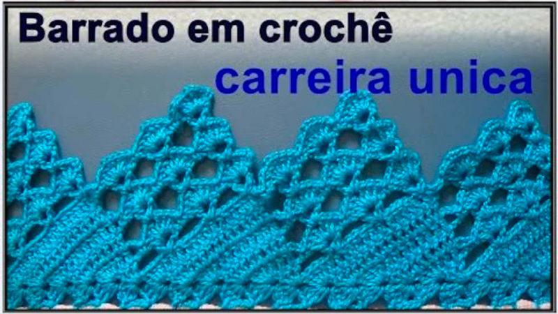 BARRADO EM CROCHÊ CARREIRA UNICA PASSO A PASSO   [VÍDEO AULA]