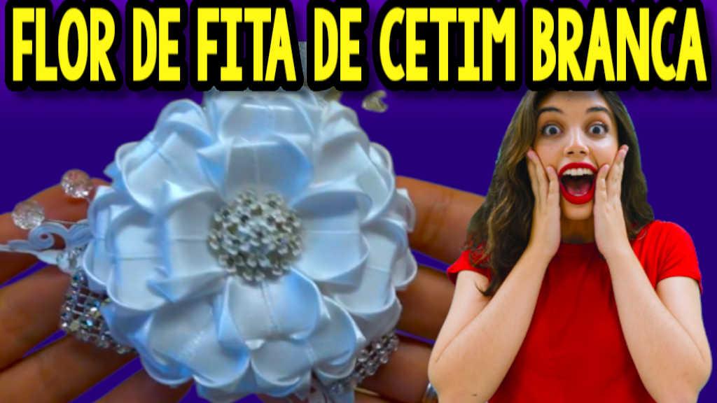 COMO FAZER FLOR BRANCA DE FITA DE CETIM PASSO A PASSO FÁCIL
