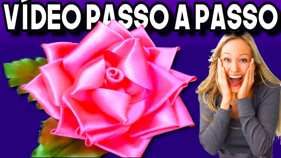 COMO FAZER ROSA DE FITA DE CETIM PASSO A PASSO COMPLETO