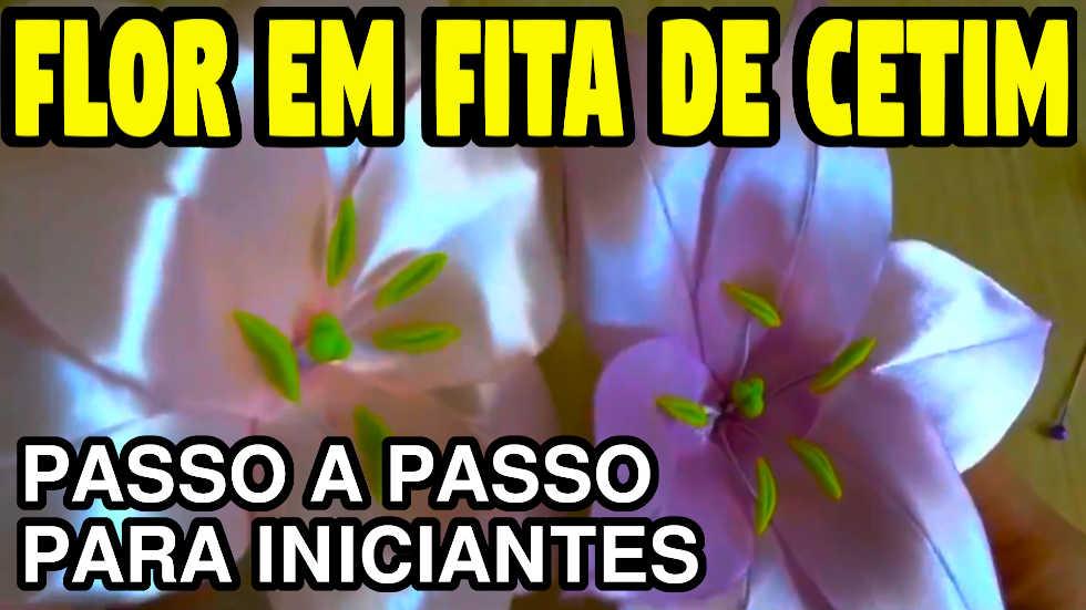 FLOR DE FITA DE CETIM PARA APLICAÇÃO PASSO A PASSO VÍDEOAULA