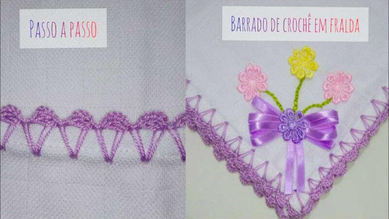 BARRADO BICO DE CROCHÊ EM FRALDA #3 | PASSO A PASSO RÁPIDO PARA INICIANTES