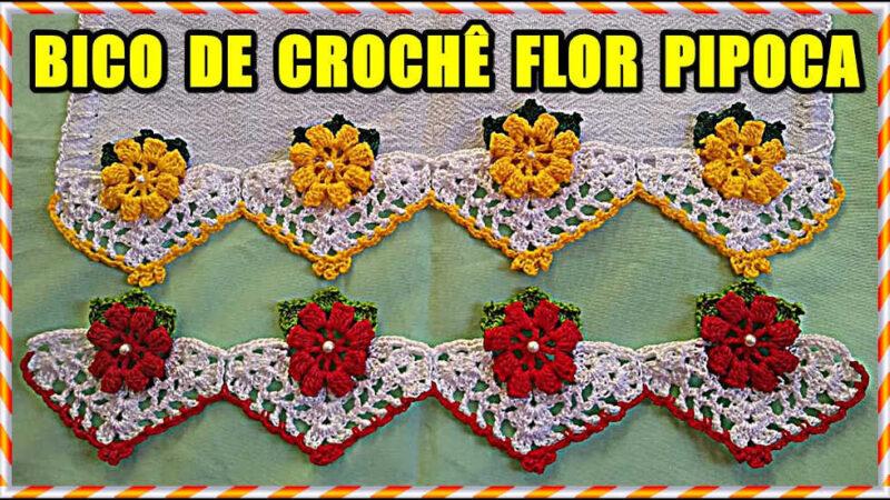 BICO DE CROCHÊ SIMPLES COM FLOR PIPOCA | PASSO A PASSO RÁPIDO PARA INICIANTES
