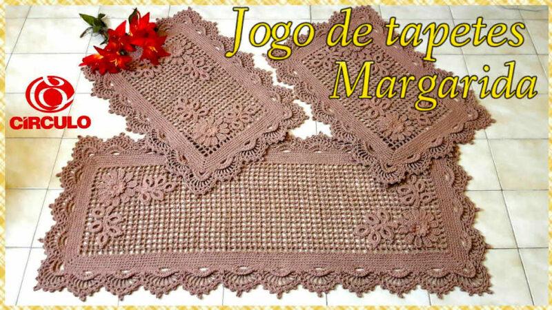 JOGO DE TAPETES MARGARIDA EM CROCHÊ 2-3 TAPETES MENORES POR VANESSA MARCONDES