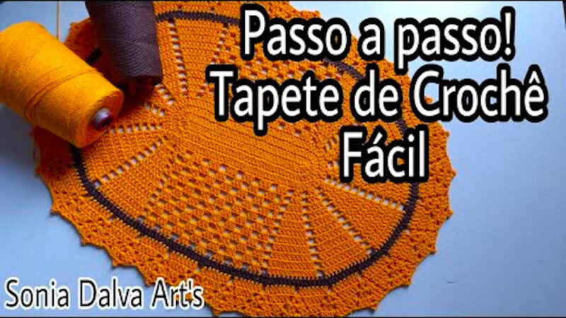 TAPETE DE CROCHÊ FÁCIL (VENDE MUITO) PASSO A PASSO OVAL AMARELO   VÍDEO-AULA PARA INICIANTES